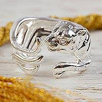 Sterling silver wrap ring, 'Sleek Cat' - Sterling Silver Jaguar Wrap Ring