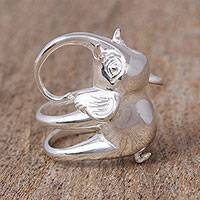 Sterling silver cocktail ring, 'Trumpeter' - Sterling Silver Elephant Cocktail Ring