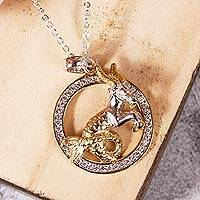 Gold-accented sterling silver pendant necklace, 'Celestial Goat' - Capricorn Gold Accent Sterling Silver Pendant Necklace