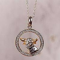 Gold-accented sterling silver pendant necklace, 'Celestial Bull' - Taurus Gold Accent Sterling Silver Pendant Necklace