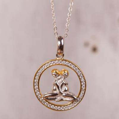 Gold-accented sterling silver pendant necklace, 'Celestial Twins' - Gemini Gold Plated Sterling Silver Pendant Necklace