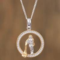 Gold-accented sterling silver pendant necklace, 'Celestial Water Bearer' - Aquarius Gold Plated Sterling Silver Pendant Necklace