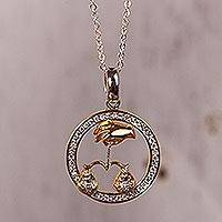 Gold-accented sterling silver pendant necklace, 'Celestial Justice' - Libra Gold Plated Sterling Silver Pendant Necklace