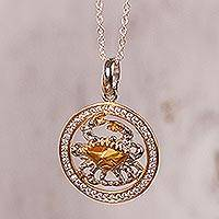 Gold-accented sterling silver pendant necklace, 'Celestial Crab' - Cancer Zodiac Gold Plated Sterling Silver Pendant Necklace