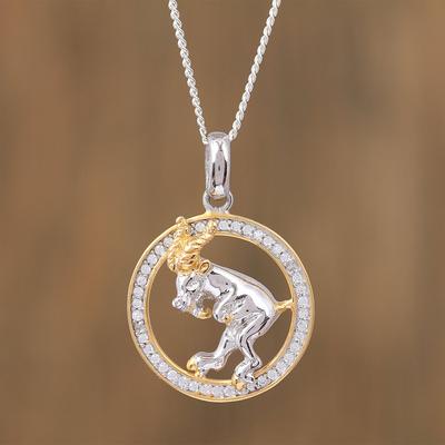 Novica Sterling silver pendant, Bull Skull
