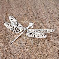 Sterling silver pendant, 'All Aflutter' - Sterling Silver Dragonfly Pendant from Mexico