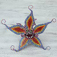 Papier mache alebrije sculpture, 'Starfish Flower' - Hand Sculpted Multicolor Star Flower Papier Mache Alebrije