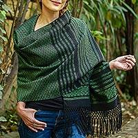 Cotton rebozo shawl, 'Evening Drama' - Green on Black Handwoven Fringed Mexican Rebozo Shawl