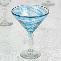 Blown glass martini glasses, 'Cerulean Threads' (set of 6) - Handblown Recycled Glass Martini Glasses (6) from Mexico