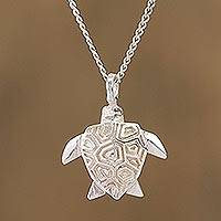 Sterling silver pendant necklace, 'Origami Turtle' - Sterling Silver Turtle Pendant Necklace from Mexico