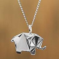 Sterling silver pendant necklace, 'Origami Elephant' - Sterling Silver Elephant Pendant Necklace from Mexico