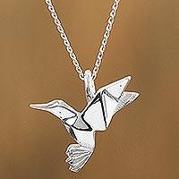 Sterling silver pendant necklace, 'Origami Hummingbird' - Sterling Silver Hummingbird Pendant Necklace from Mexico