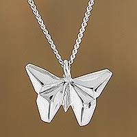 Sterling silver pendant necklace, 'Origami Butterfly' - Sterling Silver Butterfly Pendant Necklace from Mexico