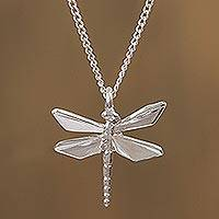 Sterling silver pendant necklace, 'Origami Dragonfly' - Sterling Silver Dragonfly Pendant Necklace from Mexico