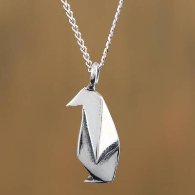 Sterling silver penguin pendant necklace from mexico origami sterling silver pendant necklace origami penguin sterling silver penguin pendant necklace from mozeypictures Images