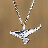 Sterling silver pendant necklace, 'Origami Whale' - Sterling Silver Whale Pendant Necklace from Mexico