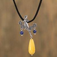 Agate and lapis lazuli pendant necklace, 'Floral Avian' - Agate and Lapis Lazuli Adjustable Bird Necklace from Mexico