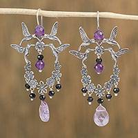 Amethyst and agate dangle earrings, 'Hummingbirds and Flowers' - Amethyst and Agate Hummingbird Dangle Earrings from Mexico