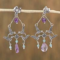 Amethyst and agate dangle earrings, 'Hummingbird Commune' - Amethyst and Agate Bird Motif Dangle Earrings from Mexico