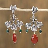 Multi-gemstone dangle earrings, 'Antics' - Multi-Gemstone Ant Motif Dangle Earrings from Mexico