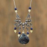 Lapiz lazuli and amber pendant necklace, 'Ant Friends' - Lapis Lazuli and Amber Ant Pendant Necklace from Mexico