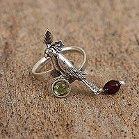 Garnet and peridot cocktail ring, 'Exotic Bird' - Garnet and Peridot Bird Cocktail Ring from Mexico