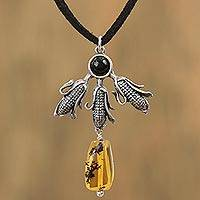 Amber and agate pendant necklace, 'Powerful Maize' - Amber and Agate Maize Pendant Necklace from Mexico