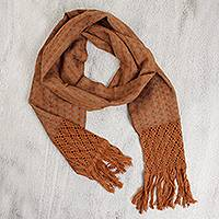 Cotton scarf, 'Mochaccino' - Cotton Fringed Scarf in Shades of Brown with Check Pattern