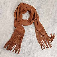 Cotton scarf, 'Latte' - Cotton Fringed Scarf in Warm Shades of Brown