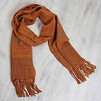 Cotton scarf, 'Caramel' - Warm Shades of Brown Cotton Fringed Scarf with Grey Band