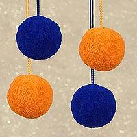 Wool ornaments, 'Baubles' (set of 4) - Wool Blue and Orange Pom-Pom Ornaments (Set of 4)