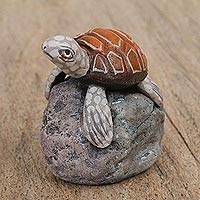 Ceramic sculpture, 'Brown Turtle' - Ceramic Sculpture of a Brown Turtle on a Rock from Mexico