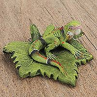 Ceramic sculpture, 'Iguana on a Leaf' - Ceramic Sculpture of an Iguana on a Leaf from Mexico