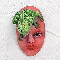 Ceramic mask, 'Frog Face' - Handcrafted Ceramic Frog Wall Mask from Mexico