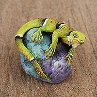 Ceramic sculpture, 'Iguana on a Rock' - Ceramic Sculpture of an Iguana on a Rock from Mexico
