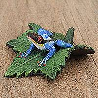 Ceramic figurine, 'Blue Frog on a Leaf' - Ceramic Figurine of a Blue Frog on a Leaf from Mexico