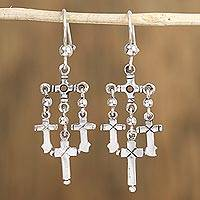 Sterling silver chandelier earrings, 'Three Crosses' - Cross Motif Sterling Silver Chandelier Earrings from Mexico
