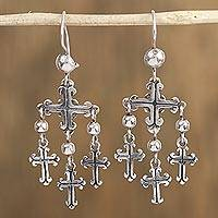 Sterling silver dangle earrings, 'Gothic Crosses' - Sterling Silver Cross Dangle Earrings from Mexico