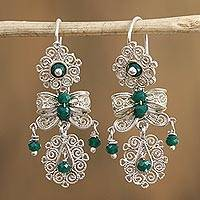 Crystal filigree dangle earrings, 'Shimmering Bows' - Green Crystal Filigree Dangle Earrings from Mexico