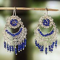 Crystal filigree dangle earrings, 'Raining Half-Moons' - Blue Crystal Filigree Dangle Earrings from Mexico