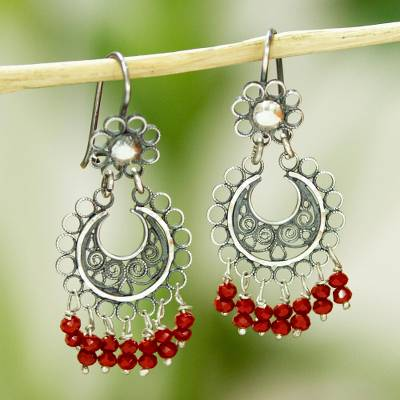 Crystal filigree dangle earrings, 'Moon and Flower' - Red Crystal Filigree Dangle Earrings from Mexico