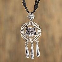 Sterling silver pendant necklace, 'Ancient Portrait' - Adjustable Sterling Silver Pendant Necklace from Mexico