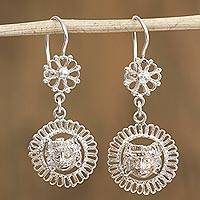 Sterling silver dangle earrings, 'Brilliant Mask' - Sterling Silver Detailed Mask with Flower Dangle Earrings