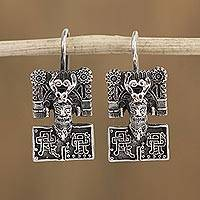 Sterling silver drop earrings, 'Regal Faces' - Cultural Sterling Silver Drop Earrings from Mexico