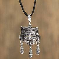 Sterling silver pendant necklace, 'Adorned' - Sterling Silver Adorned Mask Adjustable Pendant Necklace