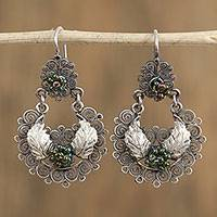Sterling silver filigree dangle earrings, 'Silver Wings' - Sterling Silver Green Glass Seed Bead Dangle Earrings