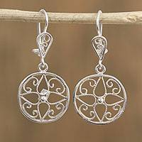 Sterling silver filigree dangle earrings, 'Circle Intricacy' - Sterling Silver Circle and Filigree Dangle Earrings