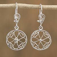 Sterling silver filigree dangle earrings, 'Circle Garden' - Sterling Silver Circle and Floral Filigree Dangle Earrings