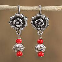 Sterling silver dangle earrings, 'Delicate Rose' - Sterling Silver Rose Dangle Earrings with Red Glass Beads
