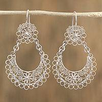 Sterling silver dangle earrings, 'Floral Finesse' - Sterling Silver Floral and Scrollwork Dangle Earrings